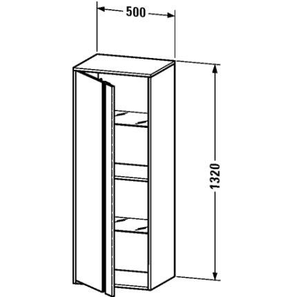 Dulap inalt suspendat Duravit Ketho 36x50x132cm, deschidere stanga, pin argintiu