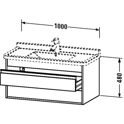 Dulap baza Duravit Ketho 100x46.5cm, 2 sertare inchidere lenta, nuc