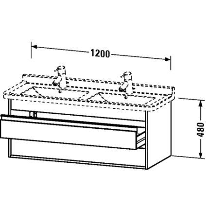 Dulap baza Duravit Ketho 120x46.5cm, 2 sertare inchidere lenta, pin argintiu