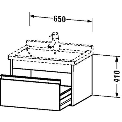 Dulap baza Duravit Ketho 65x46.5cm, sertar inchidere lenta, pin argintiu