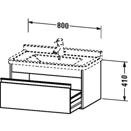 Dulap baza Duravit Ketho 80x46.5cm, sertar inchidere lenta, pin argintiu
