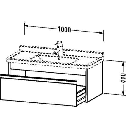 Dulap baza Duravit Ketho 100x46.5cm, sertar inchidere lenta, stejar european