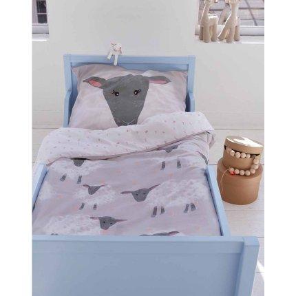 Lenjerie de pat Covers & Co Sheeps 120x150cm, 1 fata perna 50x60cm, 138TC, gri