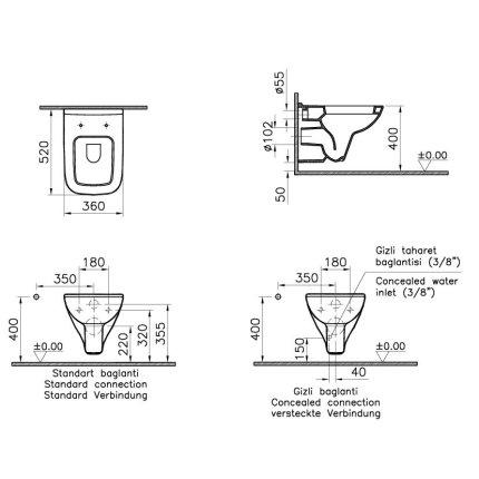 Vas WC suspendat Vitra S20 52cm, cu functie de bideu