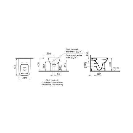 Vas WC Vitra S20 54cm back-to-wall, pentru rezervor ingropat