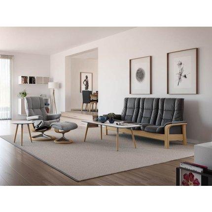 Masuta Stressless Style 55cm, h52cm, baza whitewash, blat crem