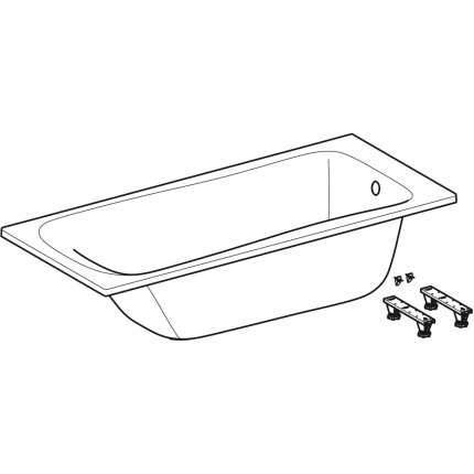 Cada baie rectangulara Geberit Selnova 160x70cm cu picioare incluse, acril