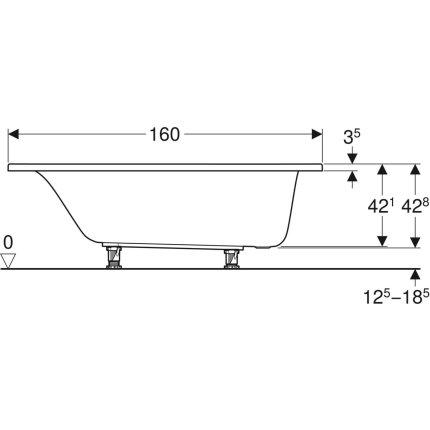 Cada baie rectangulara Geberit Selnova 160x75cm cu picioare incluse, acril