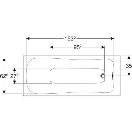 Cada baie rectangulara Geberit Selnova 170x70cm cu picioare incluse, acril