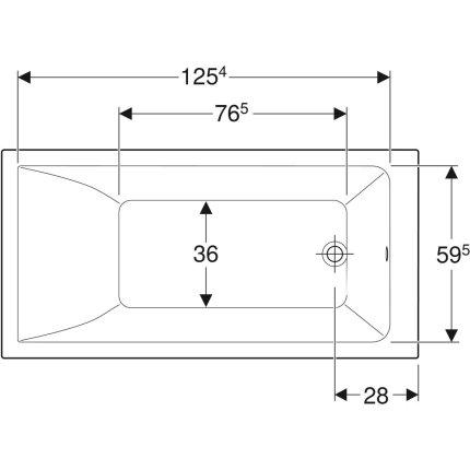 Cada baie rectangulara Geberit Selnova Square 140x70cm cu picioare incluse, acril