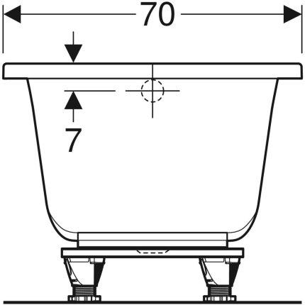 Cada baie rectangulara Geberit Selnova Square 150x70cm cu picioare incluse, acril