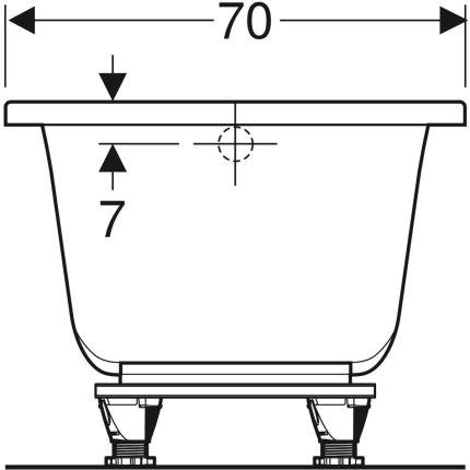 Cada baie rectangulara Geberit Selnova Square 160x70cm cu picioare incluse, acril
