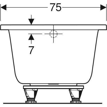 Cada baie rectangulara Geberit Selnova Square 160x75cm cu picioare incluse, acril