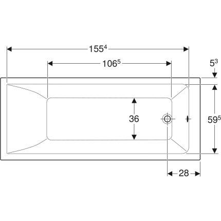 Cada baie rectangulara Geberit Selnova Square 170x70cm cu picioare incluse, acril