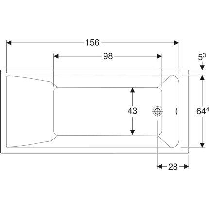 Cada baie rectangulara Geberit Selnova Square 170x75cm cu picioare incluse, acril