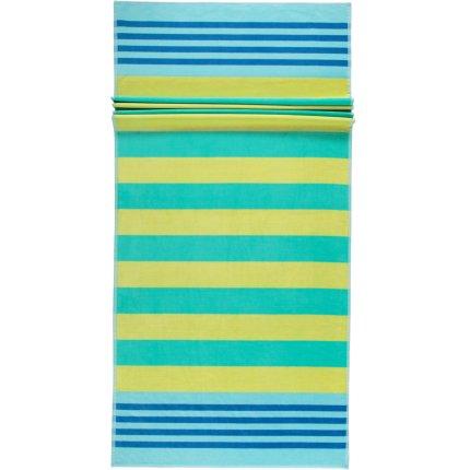 Prosop plaja Cawo Beach Stripes 80x180cm, 45 galben-verde