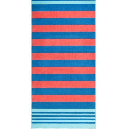 Prosop plaja Cawo Beach Stripes 80x180cm, 12 albstru-rosu coral