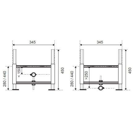 Cadru Wirquin pentru fixare bideu cu sistem fixare inclus, inaltime 45cm
