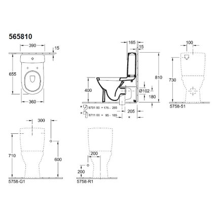 Vas WC Villeroy & Boch O.Novo DirectFlush back-to-wall 64x36cm, Alb Aplin