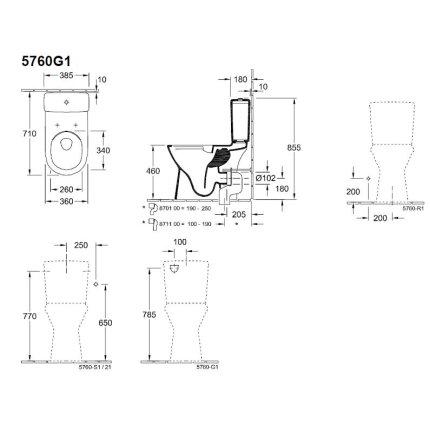Set complet vas wc Villeroy&Boch O.Novo DirectFlush cu rezervor si capac inchidere lenta