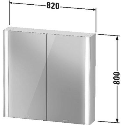 Dulap cu oglinda Duravit XViu cu iluminare LED 82x80cm, cu doua usi si doua rafturi de sticla, margini negru mat