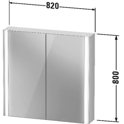 Dulap cu oglinda Duravit XViu cu iluminare LED 82x80cm, cu doua usi si doua rafturi de sticla, margini champagne mat