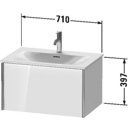 Dulap baza Duravit XViu 71x48cm, un sertar cu tehnologie Tip-On, negru lucios cu margini negru mat