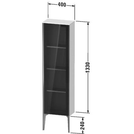 Dulap suspendat Duravit XViu 133x40cm negru lucios si cadru champagne mat cu o usa de sticla deschidere stanga