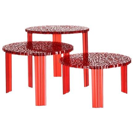 Masuta Kartell T-Table design Patricia Urquiola, 50cm, h 36cm, rosu transparent