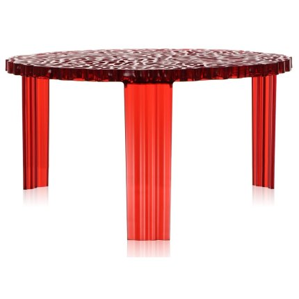 Masuta Kartell T-Table design Patricia Urquiola, 50cm, h 28cm, rosu transparent
