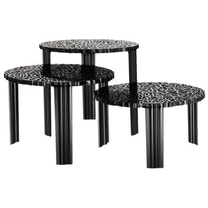 Masuta Kartell T-Table design Patricia Urquiola, 50cm, h 44cm, negru