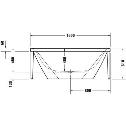 Cada freestanding Duravit XViu 160x80cm cu cadru metalic champagne mat si sifon cu preaplin integrat