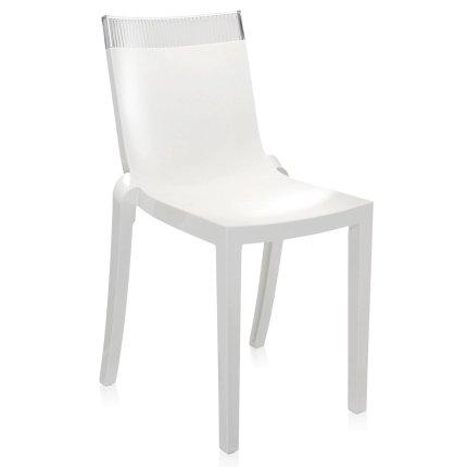 Scaun Kartell HI-CUT design Philippe Stark & Eugeni Quittlet, alb-transparent