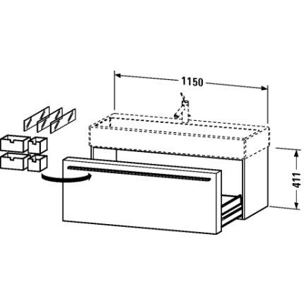 Dulap baza Duravit Fogo 115x44.5cm, sertar cu inchidere lenta, terra