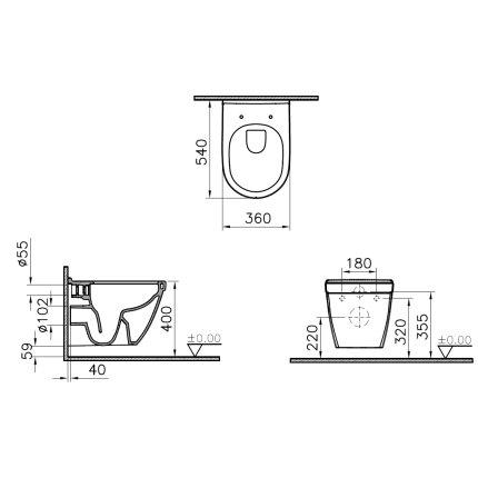 Set vas WC suspendat VitrA S50 Rim-Ex cu functie de bideu, prinderi ascunse si capac inchidere lenta