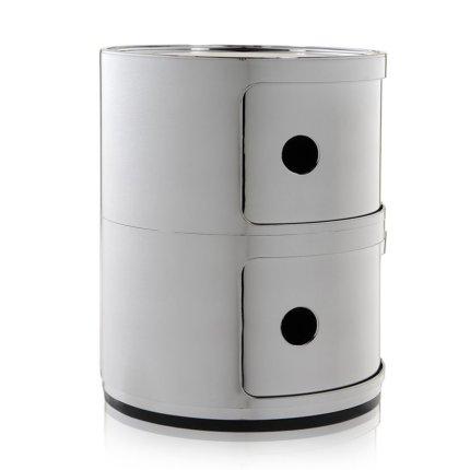 Comoda modulara Kartell Componibile 2 design Anna Castelli Ferrieri, crom metalizat