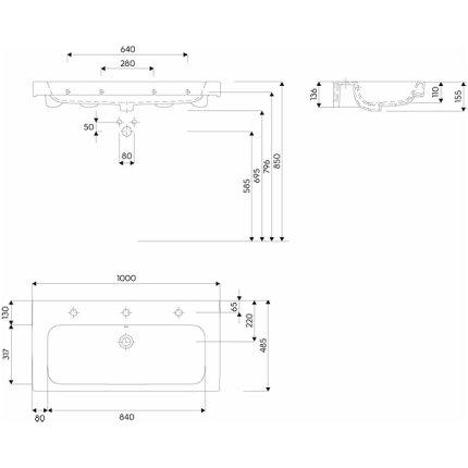Lavoar Kolo Modo 100x48.5cm, montare pe mobilier