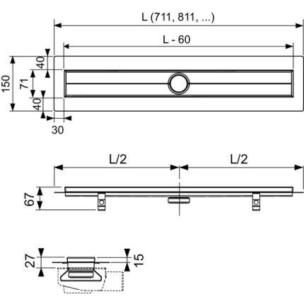 Rigola de dus Tece DrainLine, banda Seal System, 80cm