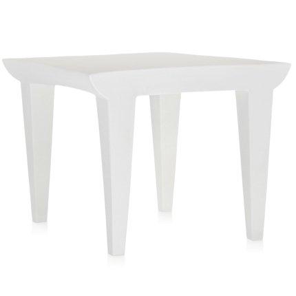Masuta Kartell Bubble, design Philippe Starck,51.5x51.5cm, hx41.5cm, alb zinc