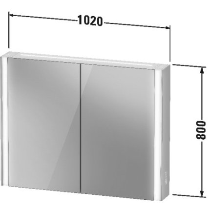 Dulap cu oglinda Duravit XViu cu iluminare LED 102x80cm, cu doua usi si doua rafturi de sticla, actionare pe senzor, margini negru mat
