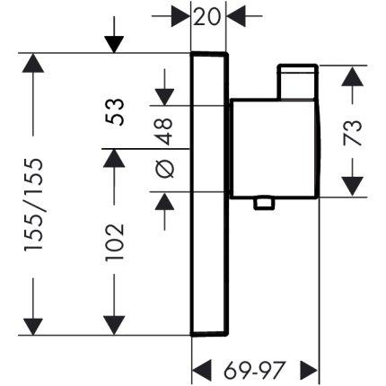 Baterie dus termostatata Hansgrohe ShowerSelect montaj incastrat, necesita corp ingropat