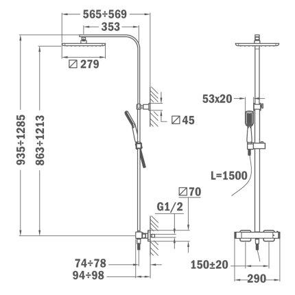 Coloana de dus Teka Formentera cu baterie termostatata, palarie 279x279mm, para cu 1 functie, crom