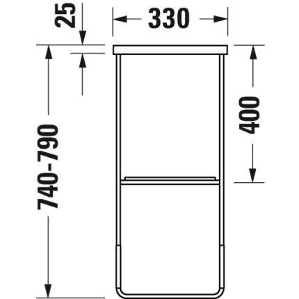 Consola metalica pe pardoseala pentru lavoar Duravit DuraSquare 516x333mm, cu port-prosop reversibil, fara raft, negru mat