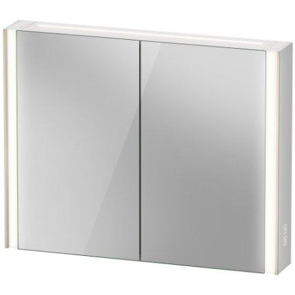 Dulap cu oglinda Duravit XViu cu iluminare LED 102x80cm, cu doua usi si doua rafturi de sticla, actionare pe senzor, margini champagne mat