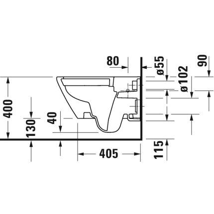 Set vas wc suspendat Duravit D-Neo Rimless fixare ascunsa si capac cu inchidere lenta