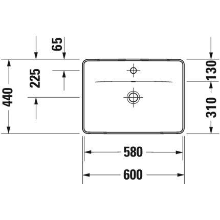 Lavoar Duravit D-Neo 60cm, montare pe blat, alb