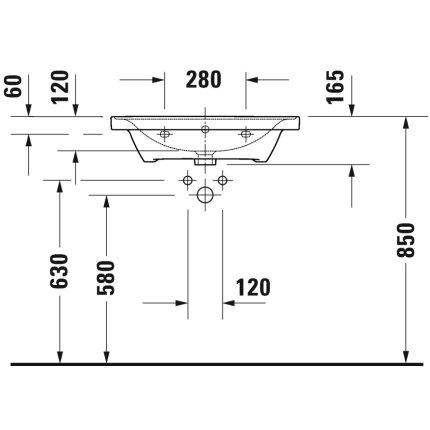 Lavoar Duravit D-Neo 65cm, montare pe mobilier, alb