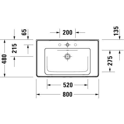 Lavoar Duravit D-Neo 80cm, montare pe mobilier, alb