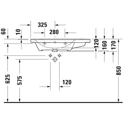 Lavoar asimetric Duravit D-Neo 80cm, montare pe mobilier, orientare stanga, alb