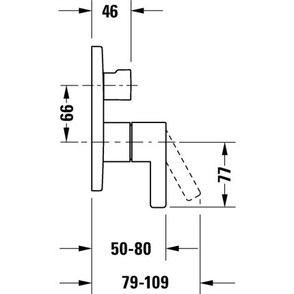 Baterie dus Duravit D-Neo cu 2 consumatori, montaj incastrat, necesita corp ingropat